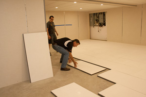 Installing ThermalDry® Insulated Subflooring In Basement